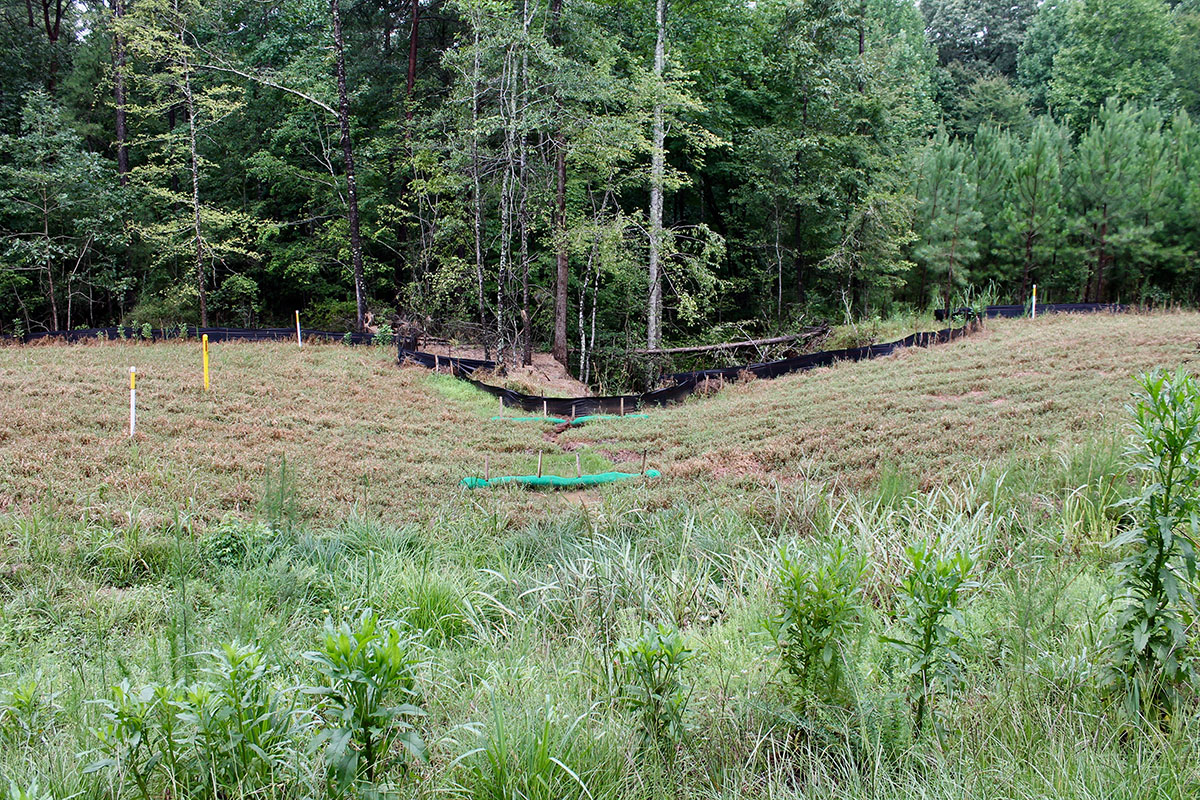 Deep gully forming beside Dominion's new high pressure natural gas pipeline in Spartanburg County. The yellow pole is the pipeline's location. Photo: Upstate Forever.