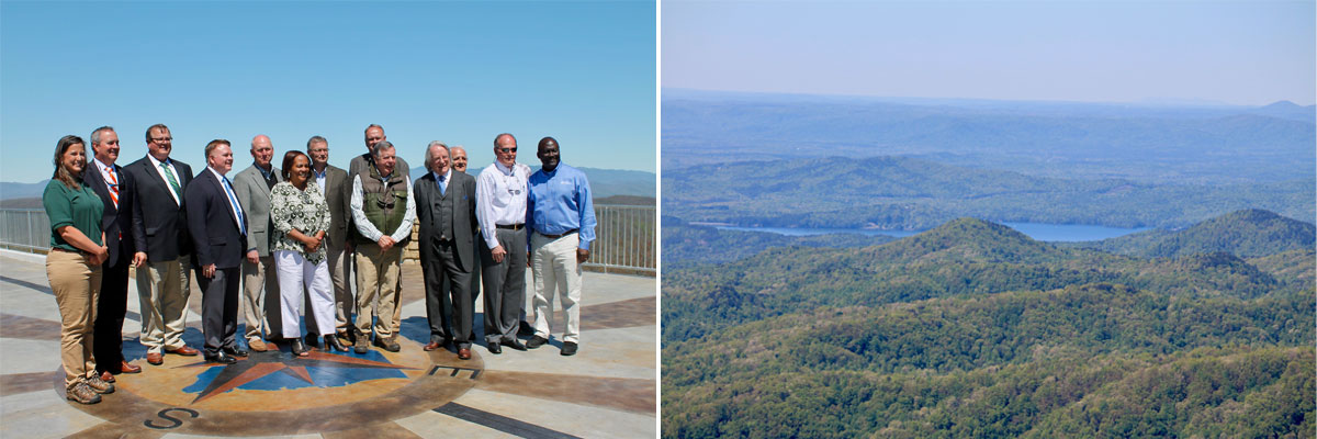 Left, Norman Pulliam attends the opening of the Sassafras Mountain Observation Tower in 2019. Right, the protected view from Sassafras Mountain.