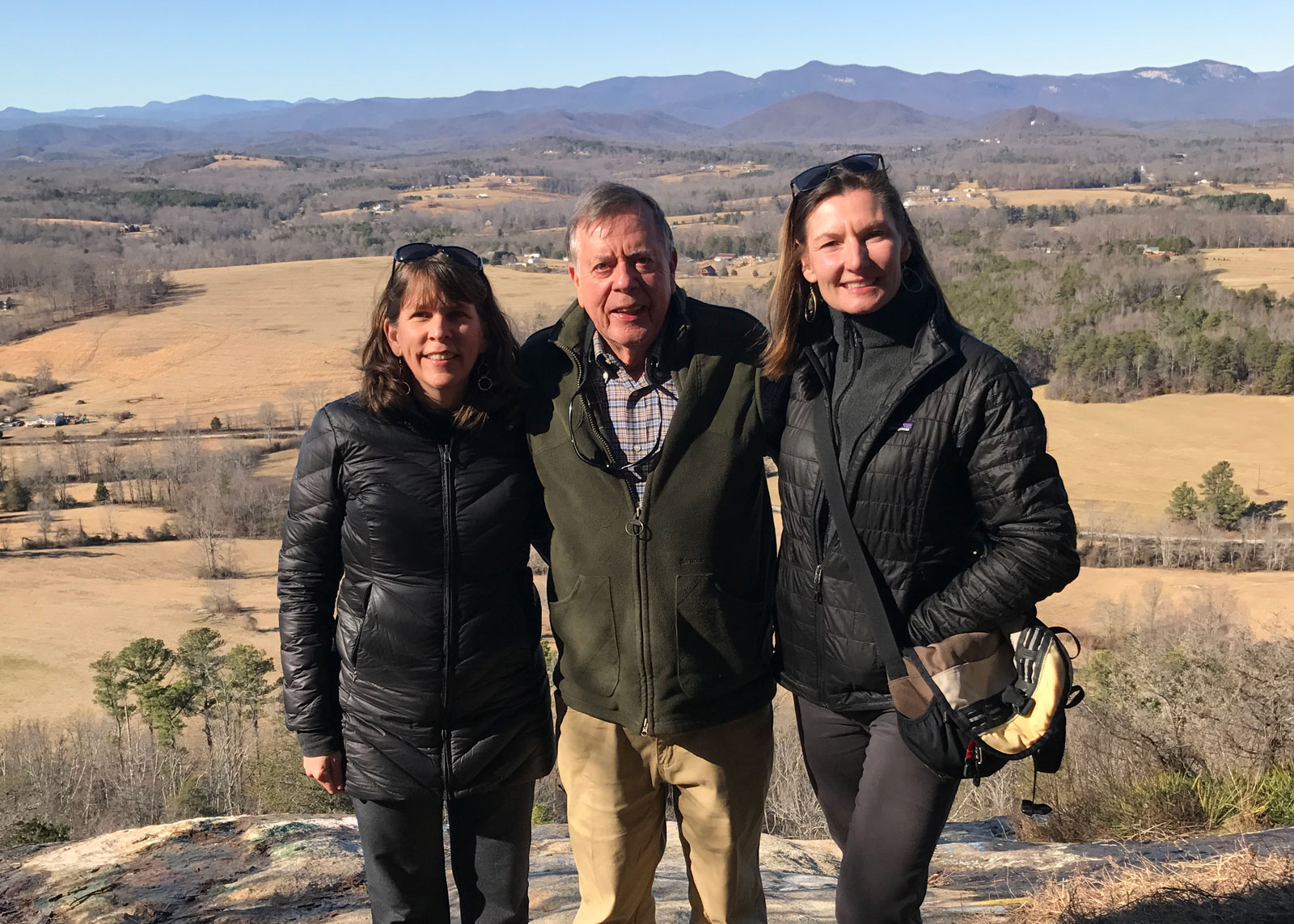 Norman Pulliam, pictured with Upstate Forever's Director of Energy & State Policy Shelley Robbins and Executive Director Andrea Cooper at the Glassy Mountain Heritage Preserve in Pickens County