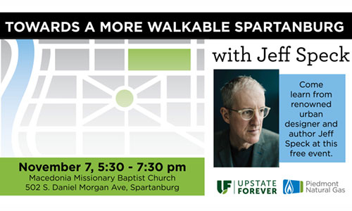 Walkability expert Jeff Speck to speak in Spartanburg Nov. 7